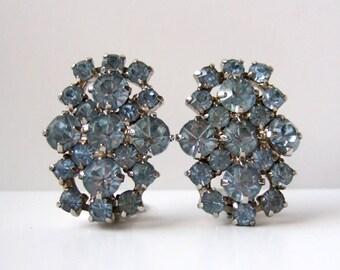 Pale Blue Rhinestone Earrings Large Rhinestone Jewelry Clip On Earrings Wedding Jewelry Coro Jewelry Vintage Coro Earrings