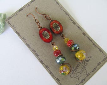Gypsy Earrings, Boho Chic, Glass Bead Earrings, Bohemian Earrings, Picasso Beads, Moonlilydesigns, FTD Awareness