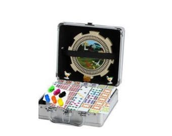 Double 12 Mexican Train Dots Set in Aluminium Case