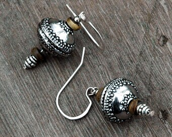 Spanish Silver Influence Drop Earrings with Wood Accents, Hand Hammered and Shaped Metal, Bali Style Saucer Bead, Boho Style Accessories