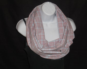 Pink and Blue Plaid Infinity Scarf