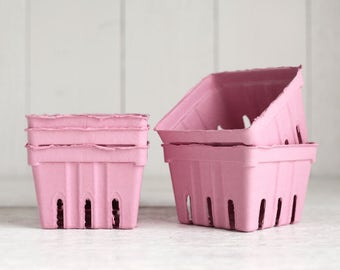 Berry Baskets - 5 Pink Paper Pulp Boxes