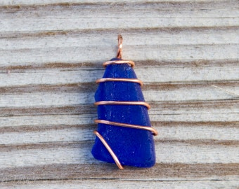 Copper & Blue - Blue Sea glass Pendant | Wire Wrapped Necklace | Sea Glass Necklace | Sea Glass Pendant