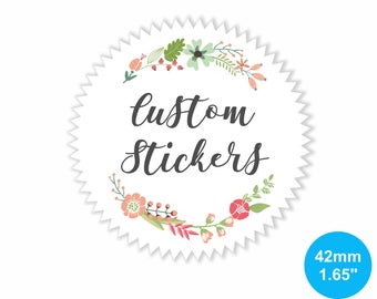 Custom Gloss Stickers 42mm Circle (1.65 inches) White Star Sticker Labels for Products, Wedding favours, Party favors