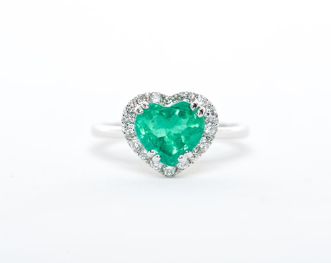 The Tracy - 18K Emerald and Diamond ring