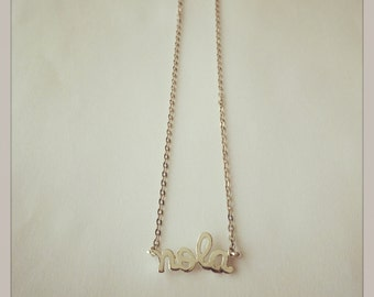 """Silver Plated """"NOLA"""" Charm Necklace, with 1.8mm Flat Oval Cable Chain"""