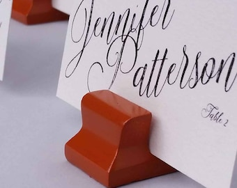 Cute Curves Weighted Place Card Holder -  Burnt Orange (Sample Quantities)