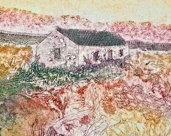 "Handmade art card ""Highland Cottage"""