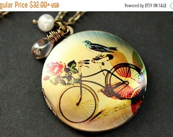 MOTHERS DAY SALE Bicycle Necklace. Bicycle Locket Necklace. Bird Necklace. Bronze Necklace with Glass Teardrop and Pearl. Bronze Locket. Han
