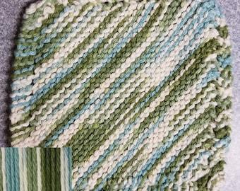 Handmade Knitted Dishcloth - Emerald Isle