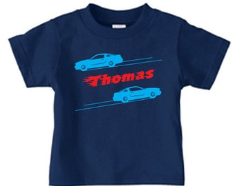 Race car birthday party t shirt, personalized kids race car birthday shirt