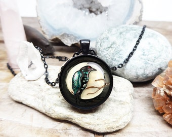 Raven necklace american indian necklace tribal necklace tribal jewelry raven pendant animal totem necklace spirit guide spirit animal gift
