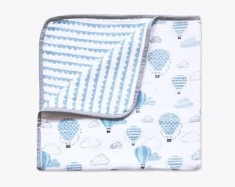 Up, Up & Away (Blue) - Organic Muslin Baby Blanket, Hot Air Balloon Blue Blanket, Muslin Baby Blanket, Baby Blanket, Baby Boy Gifting