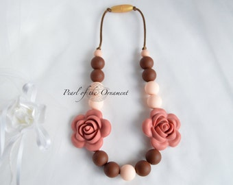 Brown peach maroon Teething necklace nursing necklace silicone necklace sensory necklace moms girl baby toddler teether chew chewelry Autism