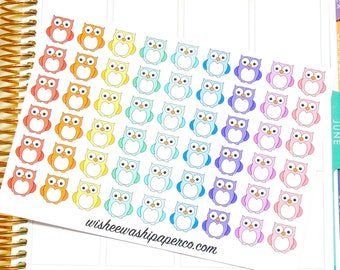 Owl Stickers - Rainbow Owl Stickers - Animal Stickers - Planner Stickers