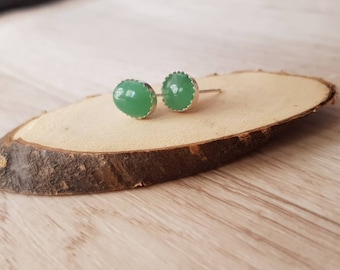 Green and Silver aventurine earrings 925. /wedding/Bridesmaid/sunset/birthday.