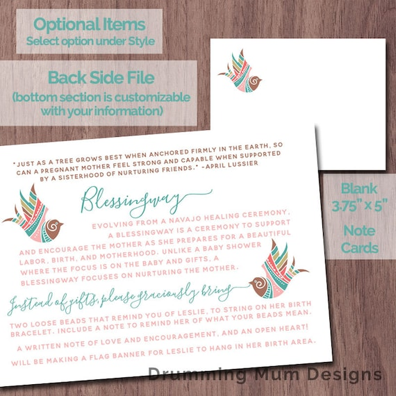 Blessingway Invitation Boho Bird Feathers Mother Blessing
