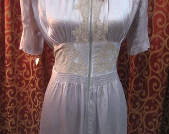 """1940's, 36"""" bust, pale lavender/blue rayon satin zippered robe"""