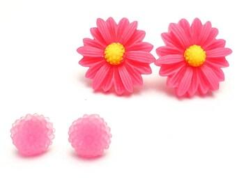Clearance Sale, Lucite earrings, Acrylic studs, Pink floral earrings, two earrings posts, Hypoallergenic earrings, Gifts ideas under 10