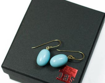 14K Solid Gold Natural Arizona Turquoise Earrings, Robin Egg Turquoise Earrings, 14K Earrings, Bridal Earrings,Solid Gold Leverback Earrings