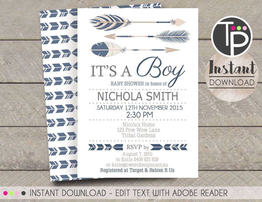 Tribal Arrow Baby Shower Invitation Instant Download Arrow