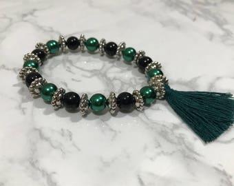 Emerald Green Tassel Bracelet