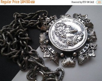 ON SALE Vintage 1970's NAPIER Greek Coin Pendant Necklace ***** Retro Rockabilly Vintage Chunky Metal Collectible Roman Soldier Jewelry