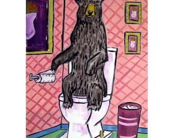 Black Bear in the Bathroom Art Print