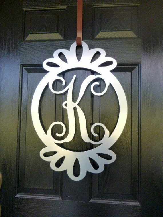 Front door wreath door decorations monogram door hanger for Metal letters for front door