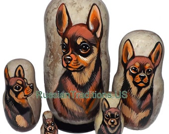 Chihuahua on Five Russian Nesting Dolls.  Dogs.  Brown/Tan.
