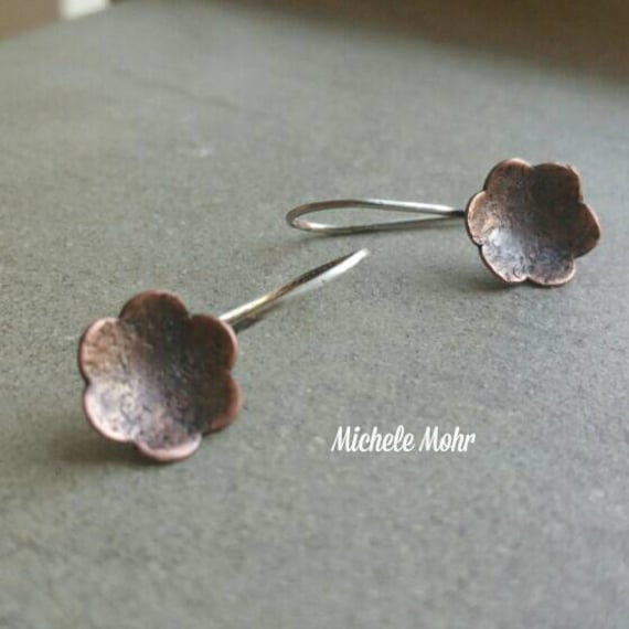 Hammered Copper and Sterling Silver Flower Earrings
