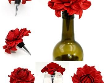 Best Gift Ever for Wine Lover! Flower Wine Bottle Stopper with REAL Leather Rose, Designed Stopper, Wedding Favor, Metal Wine Cork Topper
