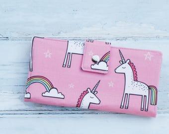 Women's Wallet-Pink Unicorn-Unicorn Gift-Unicorn-Women's Purse-Women's Clutch-Vegan Wallet-Vegan Clutch