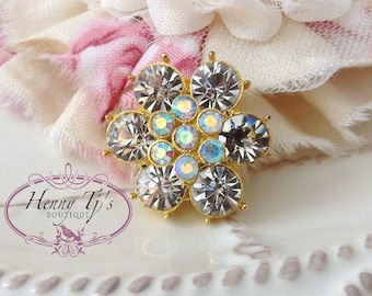 5 or 10 pcs - 23mm Gold Metal Plated Crystal Rhinestone Buttons with FLAT back -wedding / hair / dress / garment accessories / Flower Center