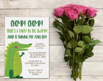 Alligator Birthday Party Invitation, Alligator Baby Shower Invitation, Chomp Chomp, Kids Birthday, Baby Shower Boy, Printable No. 1062