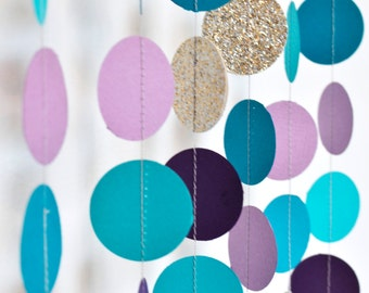 Turquoise Purple and Gold 10ft, Paper Garland, Birthday Party Decor, Wedding Decor, Shower Decor, Nursery