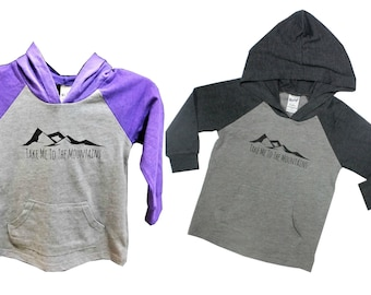 Take Me To The Mountains Kids Hoodie in Grey or Purple, Mountain T Shirt, Baby and Kids Tees, Into the Mountains, Mountain Hooded Tee