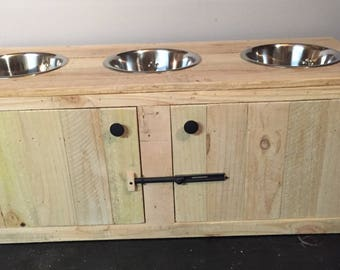Rustic Dog Feeding Station with Cabinet, Triple Diner Feeder, 3 Bowl Pet Feeder Station, Wooden Feeder Station, Primitive Dog Feeding Statio