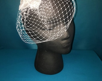 Warm White Birdcage Veil with Hand Beaded Lace