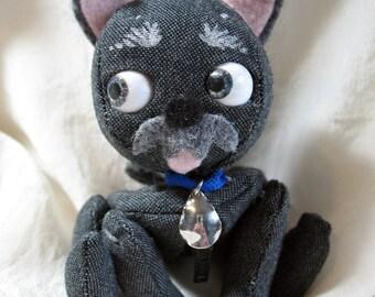 "6"" Mini Tindle Baby for BJDs scottie schnauzer puppy dog moving eyes zipper tummy MSD accessory Karen Knapp of Tindle Bears"