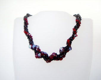 Gothic Spiral Necklace dark red and black twisted seed bead necklace with swarovski crystal unusual short designer statement beaded necklace