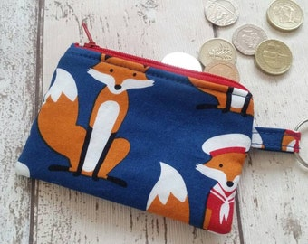 Coin purse, fox, childs purse, small gift, fox bag, keyring,  uk