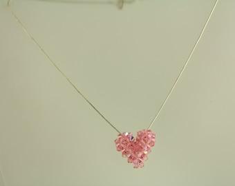 Vintage Pink Crystal Heart Sterling Silver Necklace Snake Chain (ET343 )