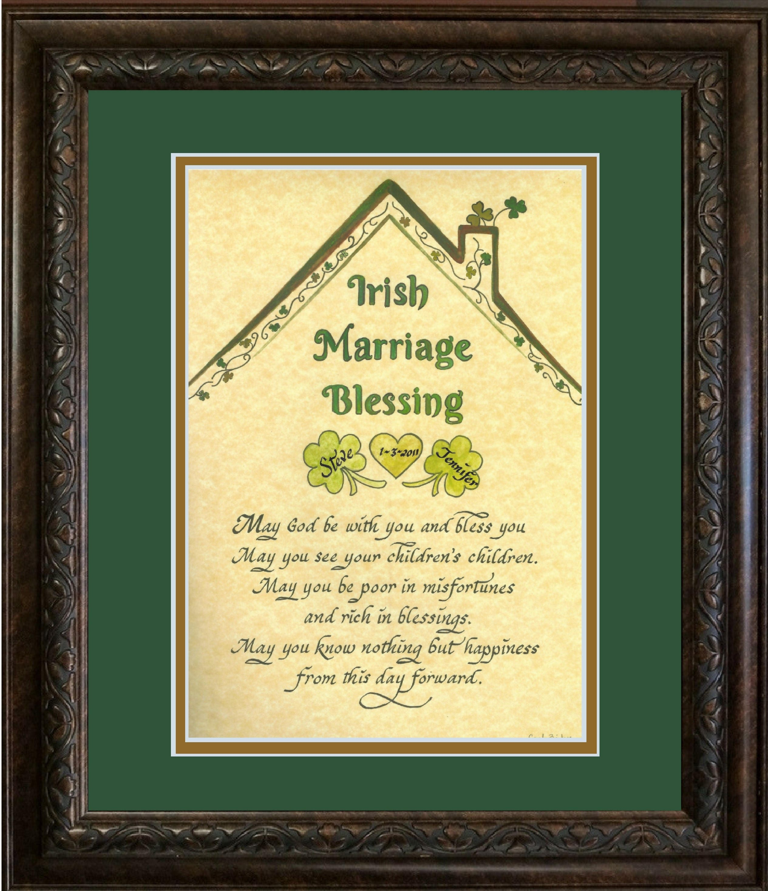 Irish Blessing Wedding Marriage Blessing with shamrocks and