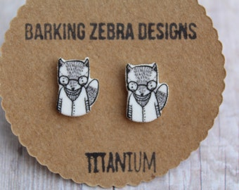 Fox Earrings | Cute Fox Studs | Tiny Stud Earrings | Titanium Studs | Hypoallergenic | Animal Earrings | Fox Jewelry | Animal Jewelry