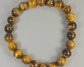 Natural Africa TIGER CAT'S EYE beads Stretchy Bracelet