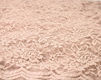 Blush Scalloped Lace Fabric by the Yard Wedding Bridal Craft Lace Material Cotton Blush Lace Fabrics - 1 Yard Style 312