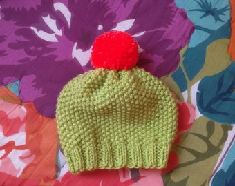 Hand knit cactus hat in baby/toddler size