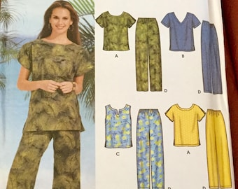 Simplicity 7236 Top and Pull On Skirt Pants Shorts Pattern, uncut, Size 26w-32w