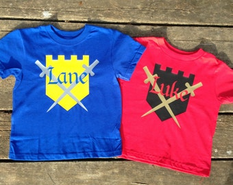 Personalized Knight T-Shirt for Kids, Custom Shield and Swords King Castle Knight in Shining Armor Shirt with Name, Kids T-shirt